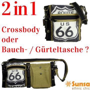 Sunsa 2 in 1  Schultertasche, Umhängetasche, Bauchtasche, Hüfttasche, Gürteltasche, Hip-Bags, Belt Bags - jetzt im Creativa in Aarau erhältlich