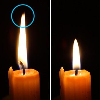 Dieselbe Kerze vor und nachdem der Docht gekürzt wurde