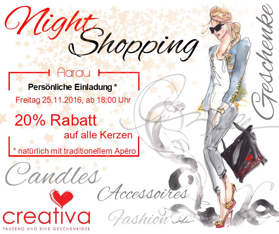 Night Shopping 2016 bei Creativa 1001 Geschenkideen an der Pelzgasse in Aarau